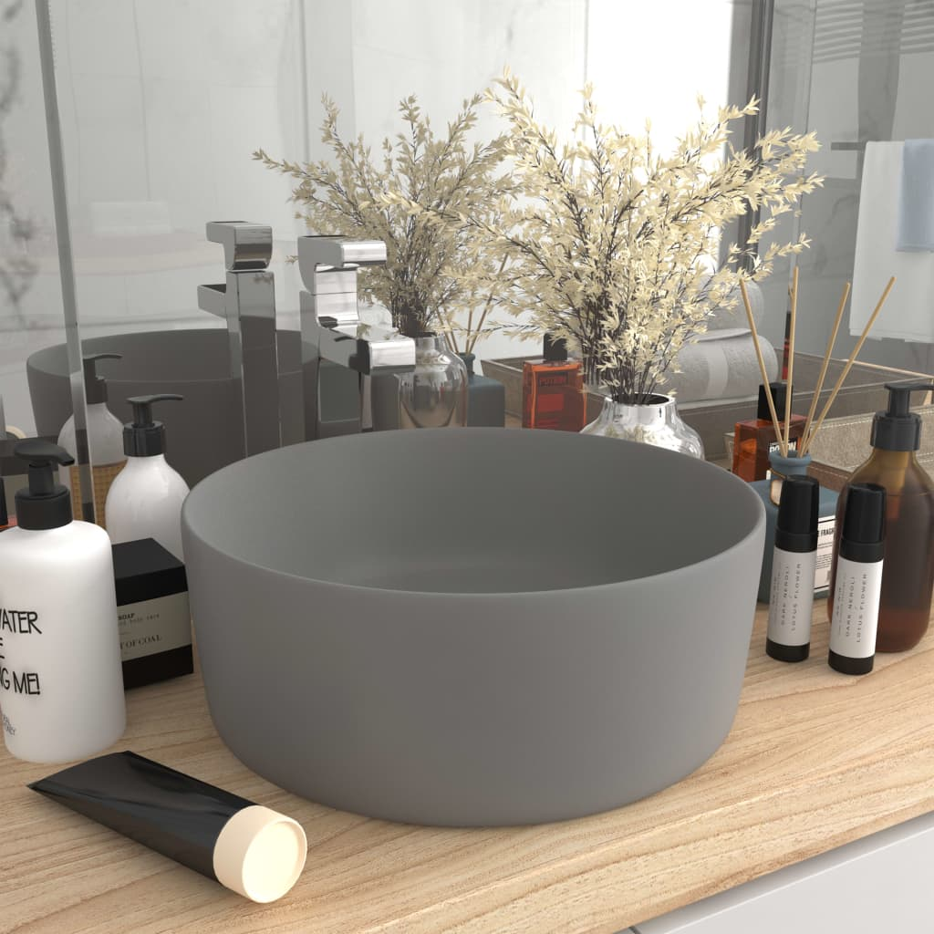 vidaXL Chiuvetă baie lux gri deschis mat 40x15 cm ceramică rotund imagine vidaxl.ro