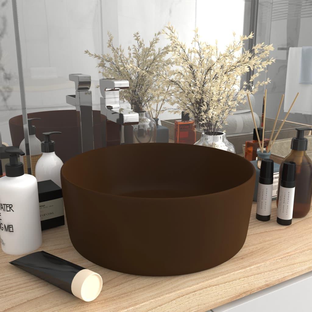 vidaXL Chiuvetă de baie lux maro închis mat 40x15 cm ceramică rotund imagine vidaxl.ro