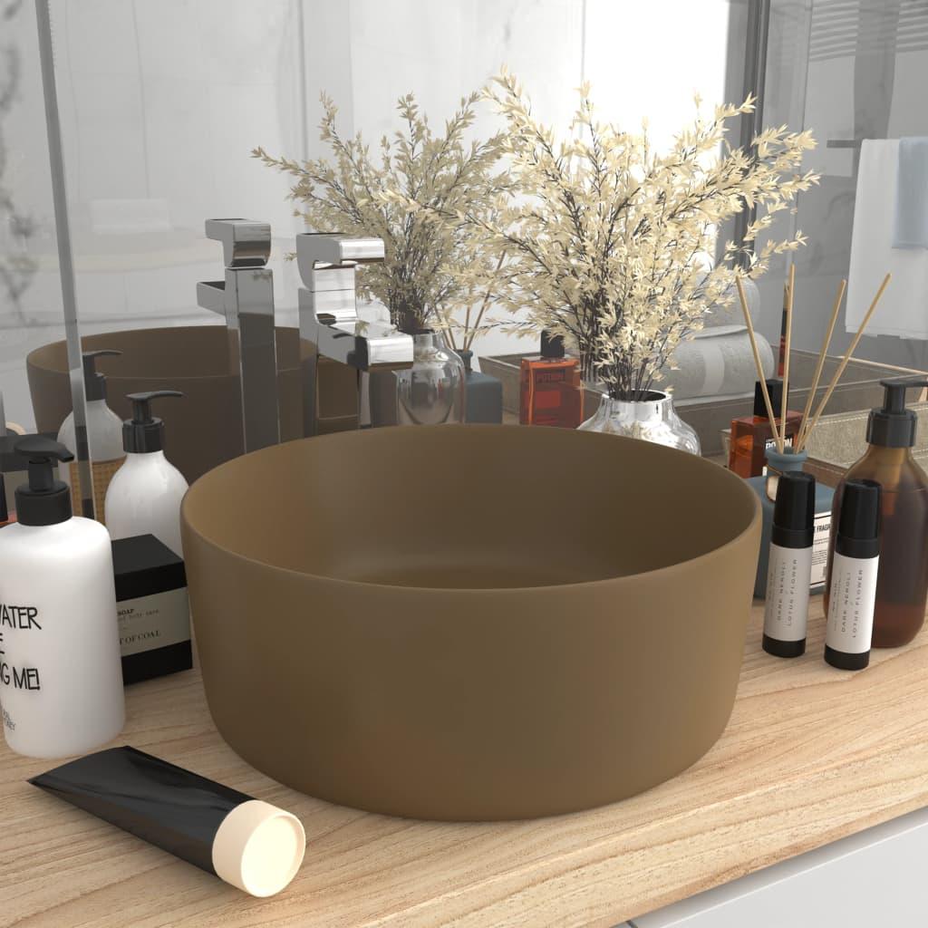 vidaXL Chiuvetă baie lux, crem mat, 40x15 cm, ceramică, rotund vidaxl.ro