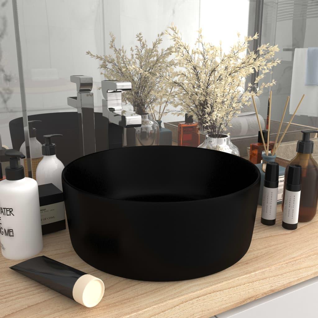 vidaXL Chiuvetă baie lux, negru mat, 40x15 cm, ceramică, rotund imagine vidaxl.ro