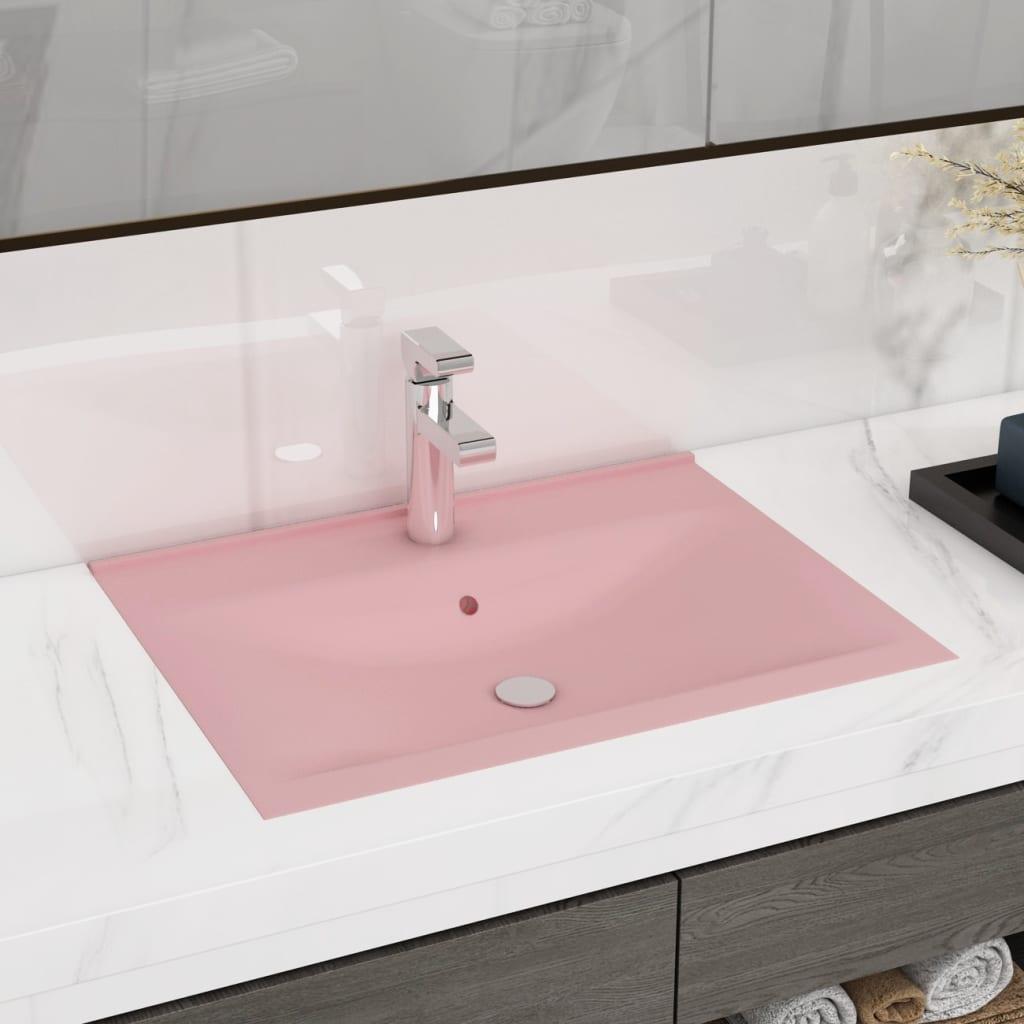 vidaXL Chiuvetă baie lux, orificiu robinet, roz mat 60x46 cm ceramică poza vidaxl.ro