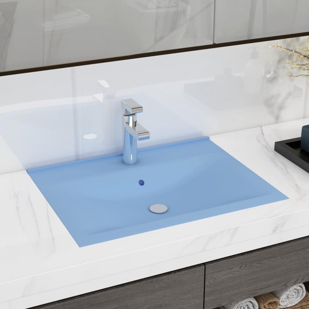 vidaXL Chiuvetă baie lux, orificiu robinet, 60x46 cm bleu mat ceramică poza 2021 vidaXL