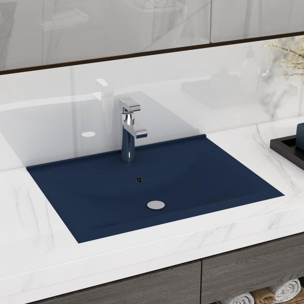 vidaXL Chiuvetă baie lux orificiu robinet albastru 60x46 cm ceramică vidaxl.ro