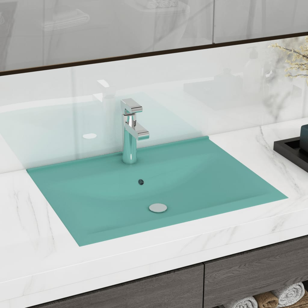 vidaXL Chiuvetă baie lux, orificiu robinet 60x46 cm verde mat ceramică poza vidaxl.ro