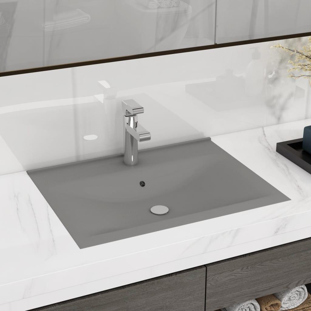 vidaXL Chiuvetă baie lux, orificiu robinet, gri mat 60x46 cm ceramică vidaxl.ro