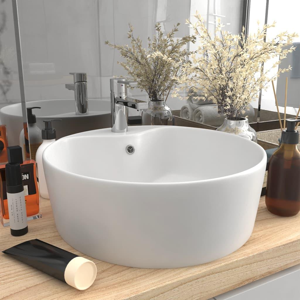 vidaXL Chiuvetă de lux cu preaplin, alb mat, 36 x 13 cm, ceramică poza 2021 vidaXL