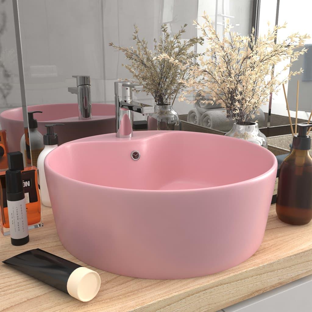 vidaXL Chiuvetă de lux cu preaplin, roz mat, 36 x 13 cm, ceramică vidaxl.ro