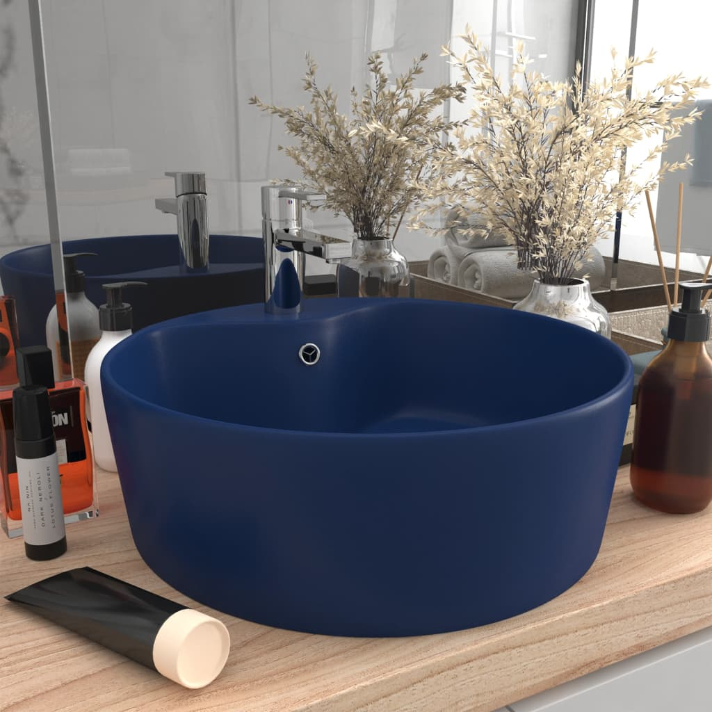 vidaXL Chiuvetă de lux cu preaplin, albastru mat, 36 x 13 cm, ceramică vidaxl.ro