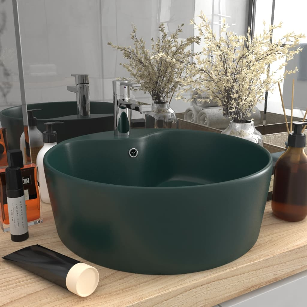 vidaXL Chiuvetă de lux cu preaplin verde închis mat 36x13 cm ceramică vidaxl.ro