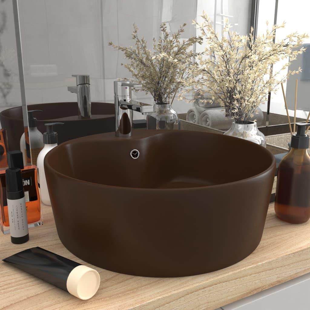 Luxusní umyvadlo přepad matné tmavě hnědé 36 x 13 cm keramické