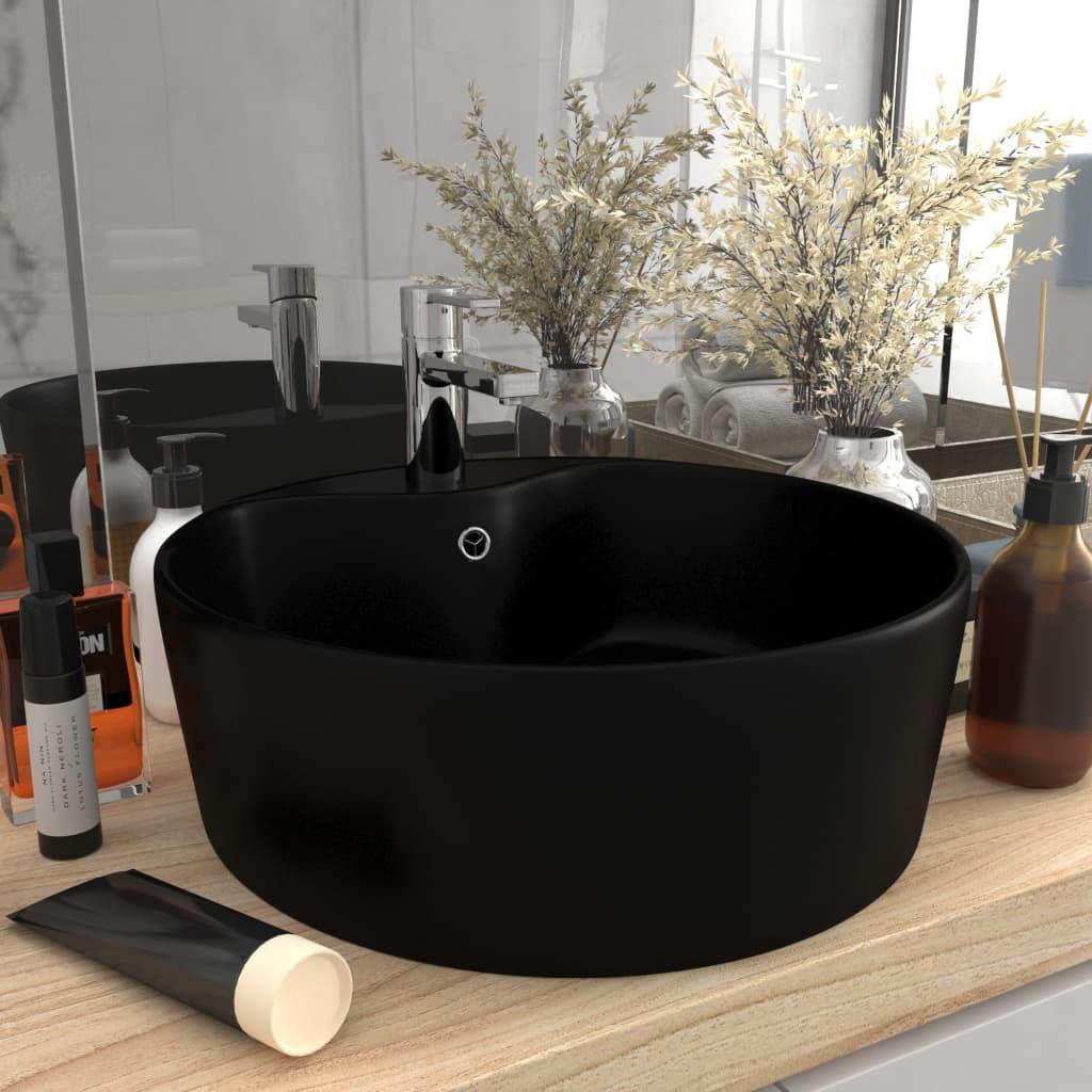 vidaXL Chiuvetă de lux cu preaplin, negru mat, 36 x 13 cm, ceramică imagine vidaxl.ro