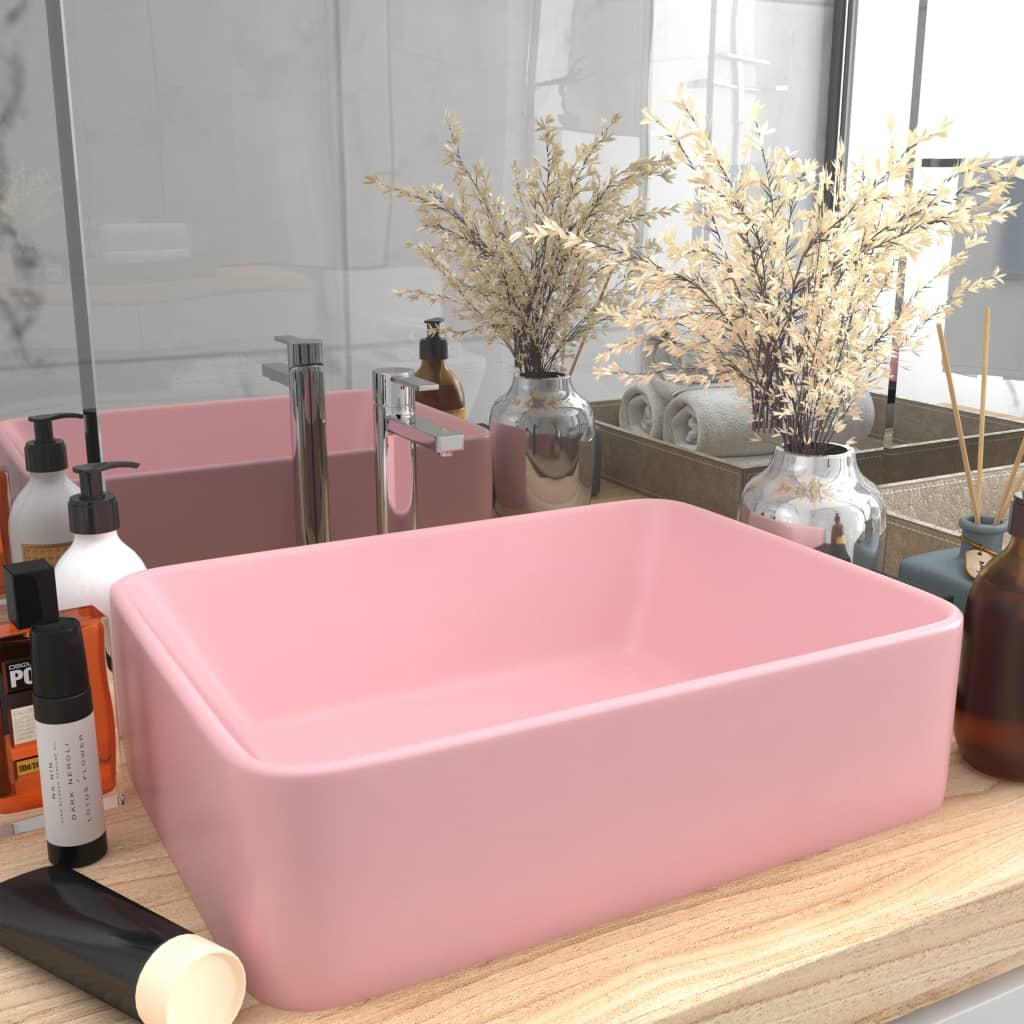 vidaXL Chiuvetă de baie lux, roz mat, 41 x 30 x 12 cm, ceramică vidaxl.ro