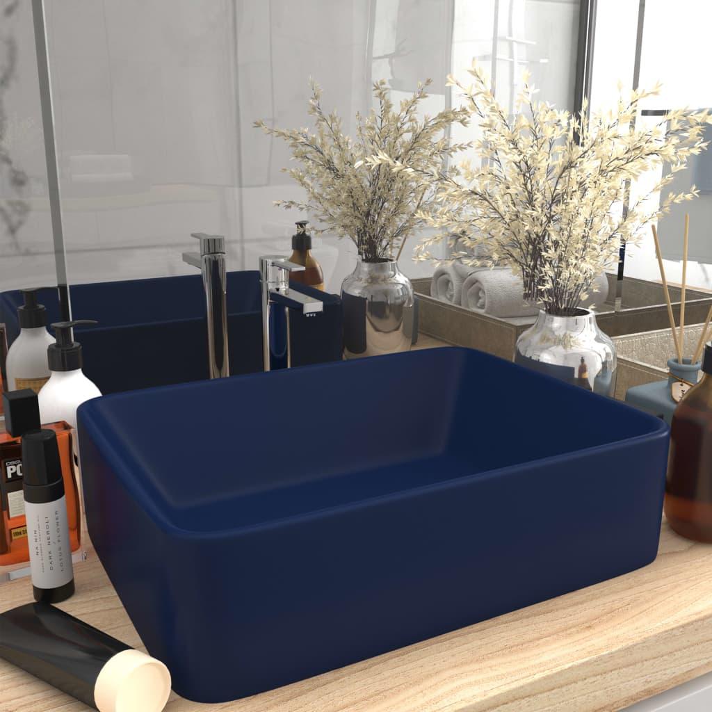 vidaXL Chiuvetă de baie lux, albasru închis mat, 41x30x12 cm, ceramică vidaxl.ro