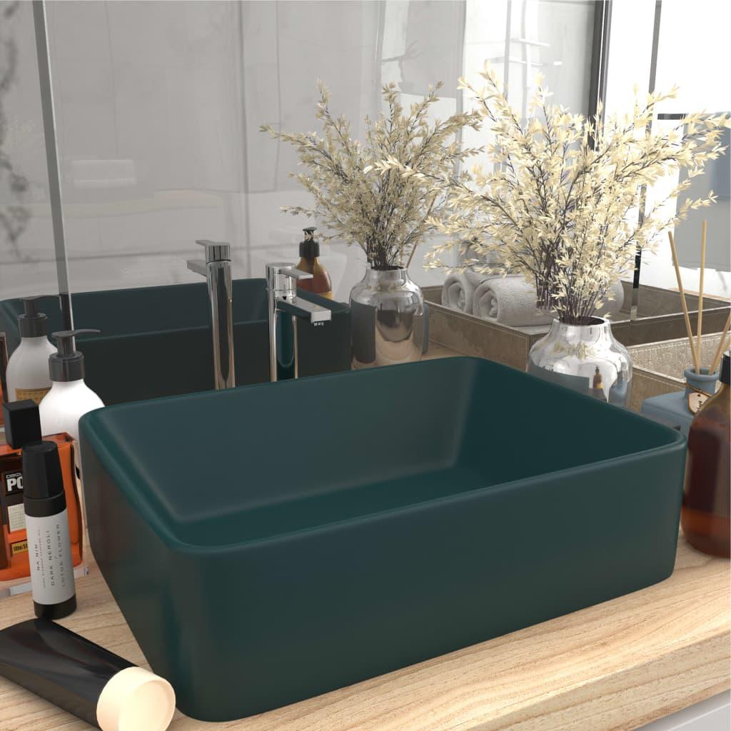 vidaXL Chiuvetă de baie lux, verde închis mat, 41x30x12 cm, ceramică imagine vidaxl.ro