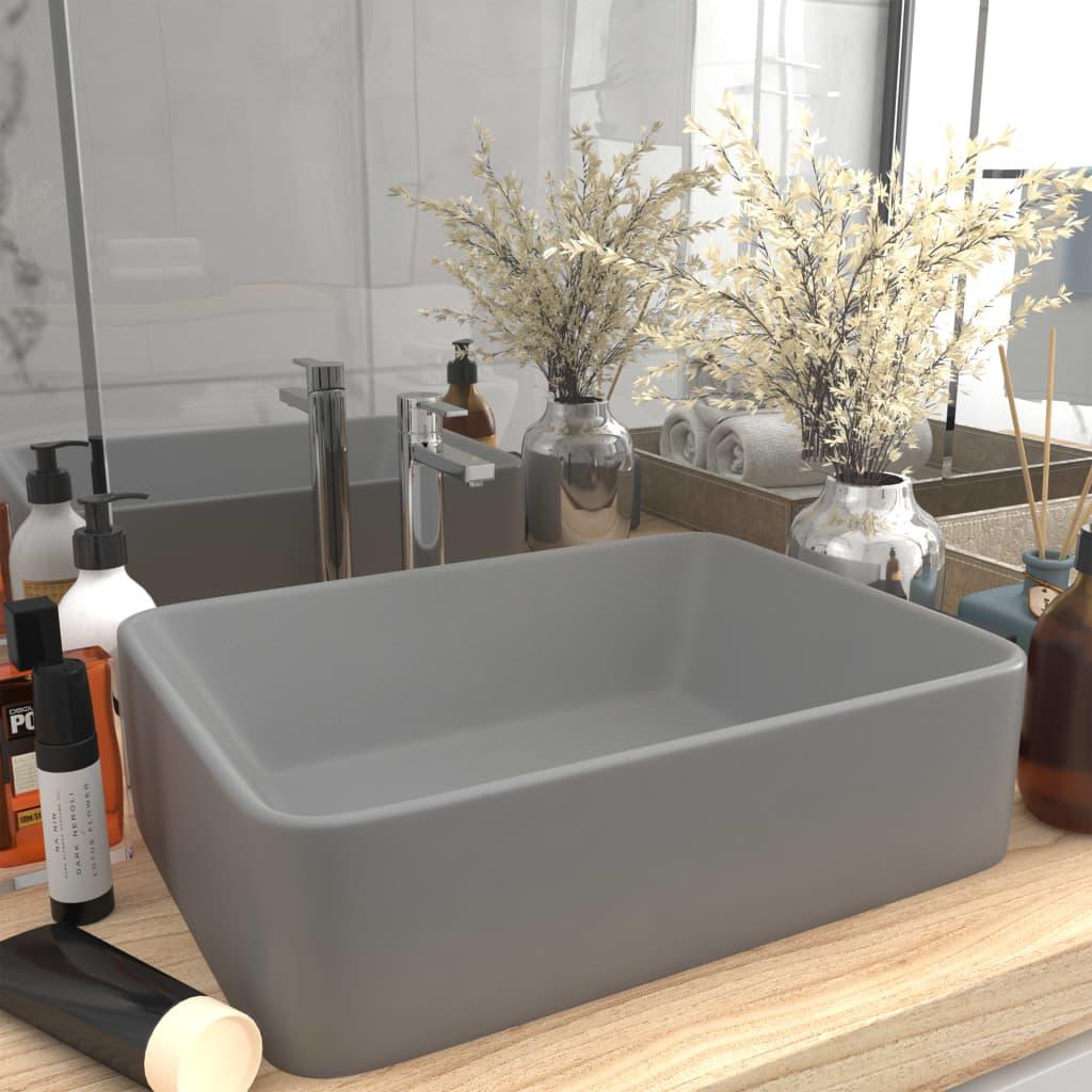 vidaXL Chiuvetă de baie lux, gri deschis mat, 41x30x12 cm, ceramică poza 2021 vidaXL