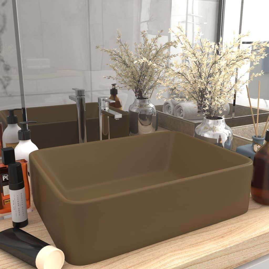 vidaXL Chiuvetă de baie lux, crem mat, 41x30x12 cm, ceramică poza vidaxl.ro