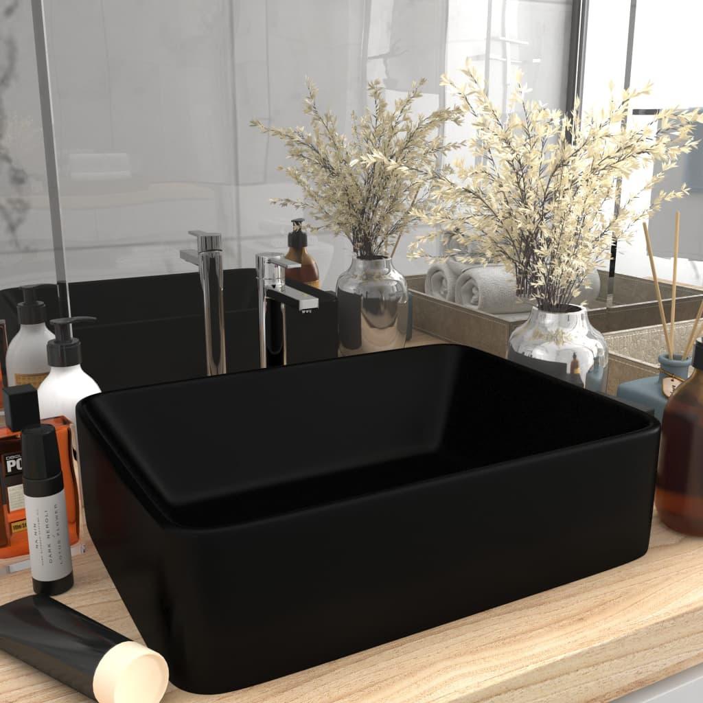 vidaXL Chiuvetă de baie lux, negru mat, 41 x 30 x 12 cm, ceramică poza 2021 vidaXL