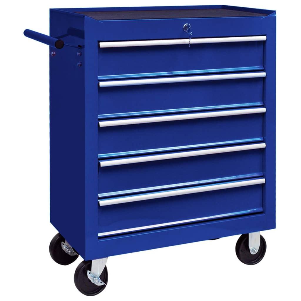 Dílenský vozík na nářadí s 5 zásuvkami ocelový modrý