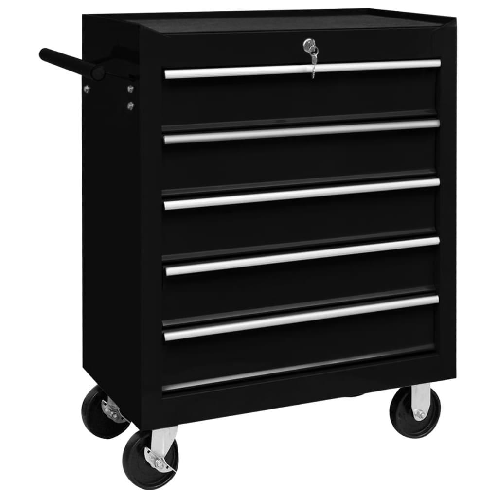 Dílenský vozík na nářadí s 5 zásuvkami černý