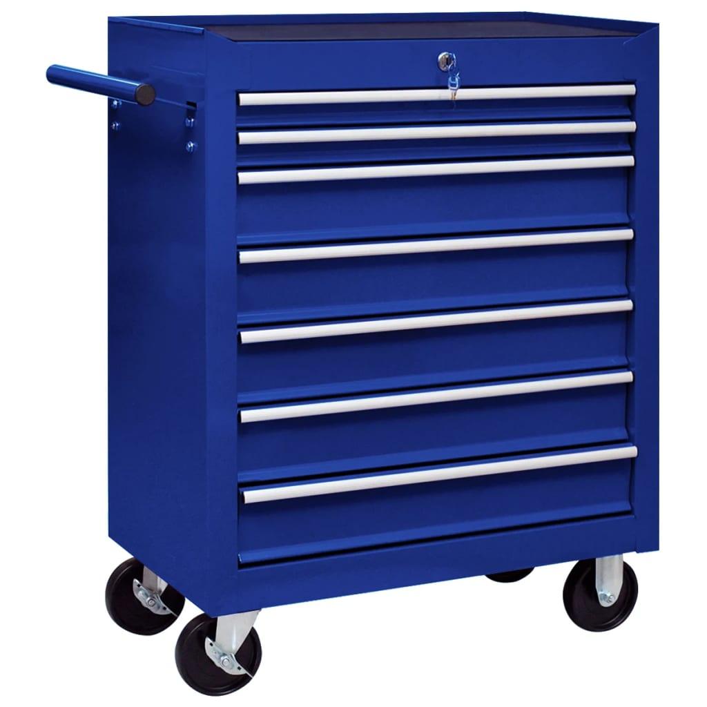 Dílenský vozík na nářadí se 7 zásuvkami modrý