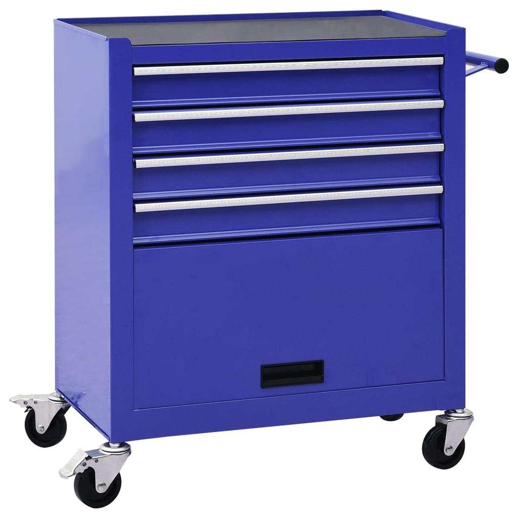 vidaXL Cărucior de scule cu 4 sertare, albastru, oțel vidaxl.ro