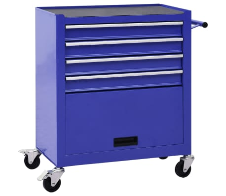 vidaXL Tool Trolley with 4 Drawers Steel Blue