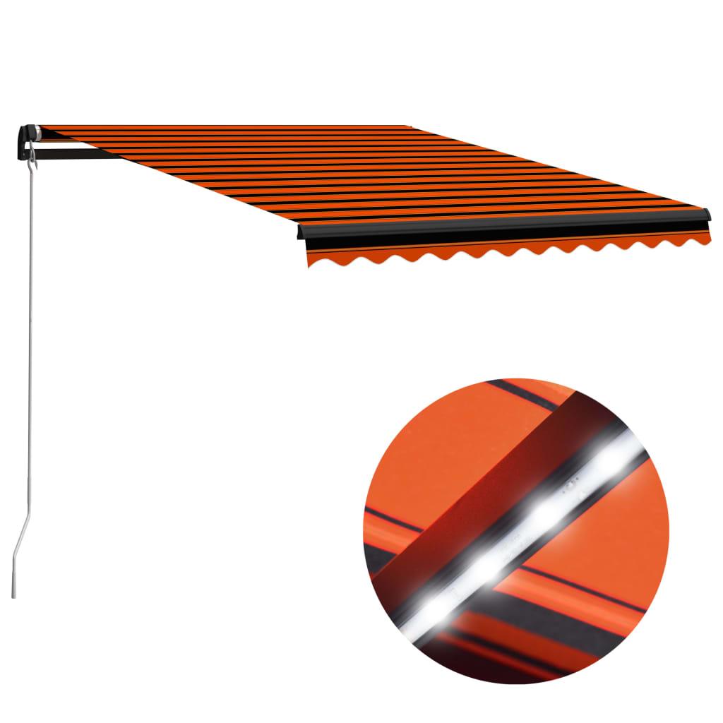 9993055223 Einziehbare Markise Handbetrieben LED 300x250 cm Orange Braun