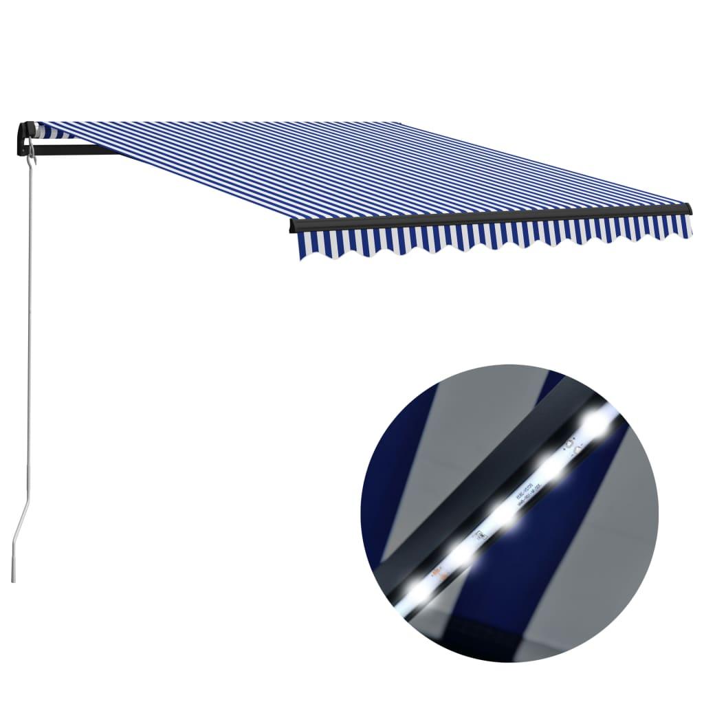 vidaXL Copertină retractabilă manual cu LED, albastru/alb, 350x250 cm vidaxl.ro