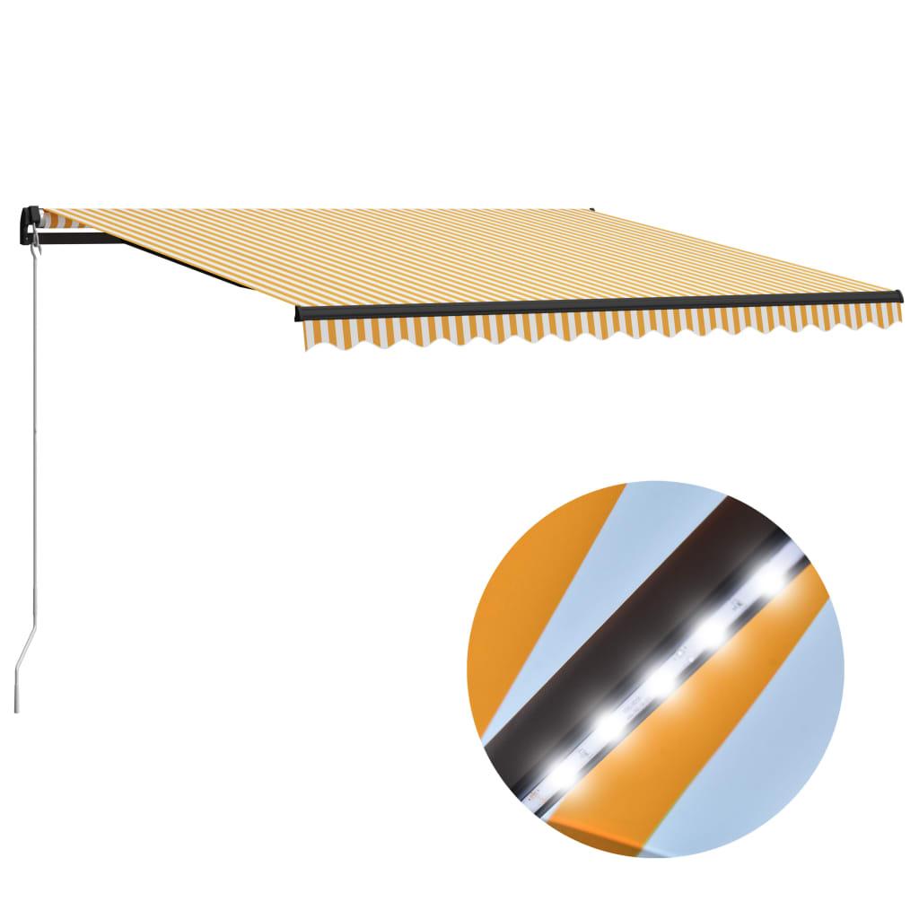 vidaXL Copertină retractabilă manual cu LED, galben/alb, 400 x 300 cm poza 2021 vidaXL