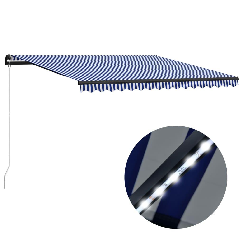 vidaXL Copertină retractabilă manual cu LED, albastru/alb, 450x300 cm imagine vidaxl.ro