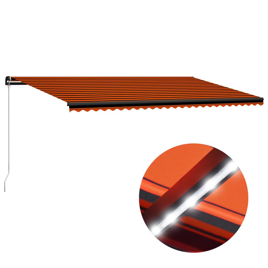 vidaXL Copertină retractabilă manual LED, portocaliu/maro, 600x300 cm vidaxl.ro