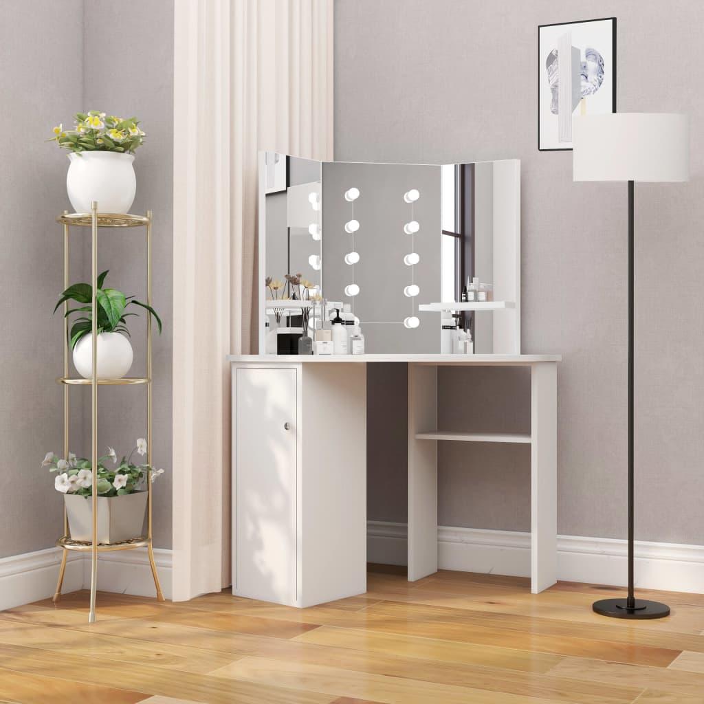 vidaXL Masă pentru machiaj de colț cu lumini LED, alb imagine vidaxl.ro