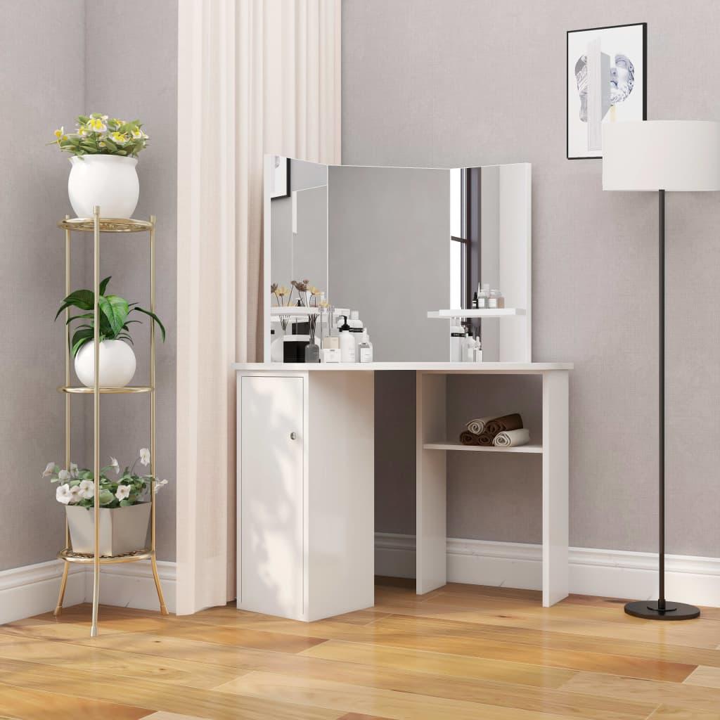 vidaXL Masă de toaletă colțar, masă pentru machiaj și cosmetice, alb poza 2021 vidaXL