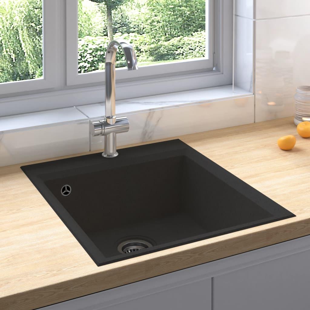 vidaXL Chiuvetă de bucătărie cu orificiu de preaplin, negru, granit poza 2021 vidaXL