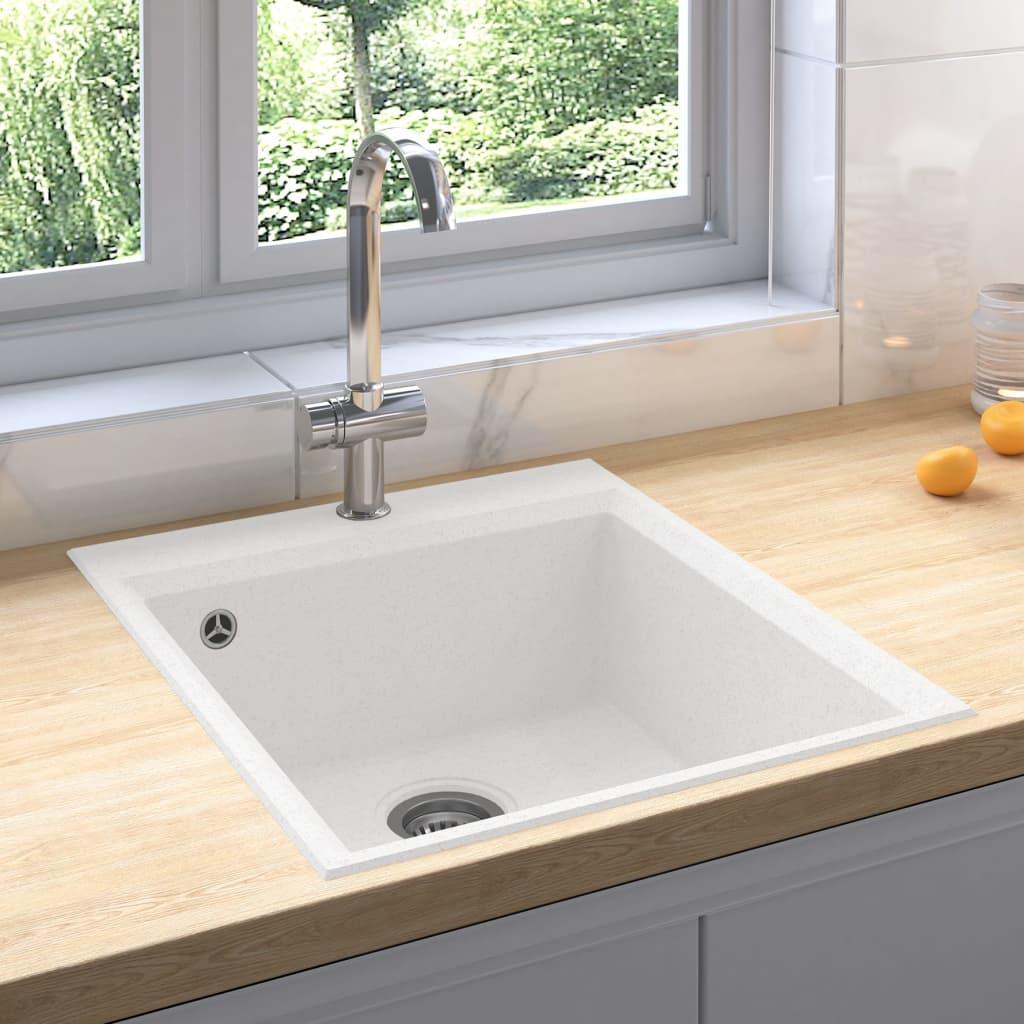 vidaXL Chiuvetă de bucătărie cu orificiu de preaplin, alb, granit poza 2021 vidaXL