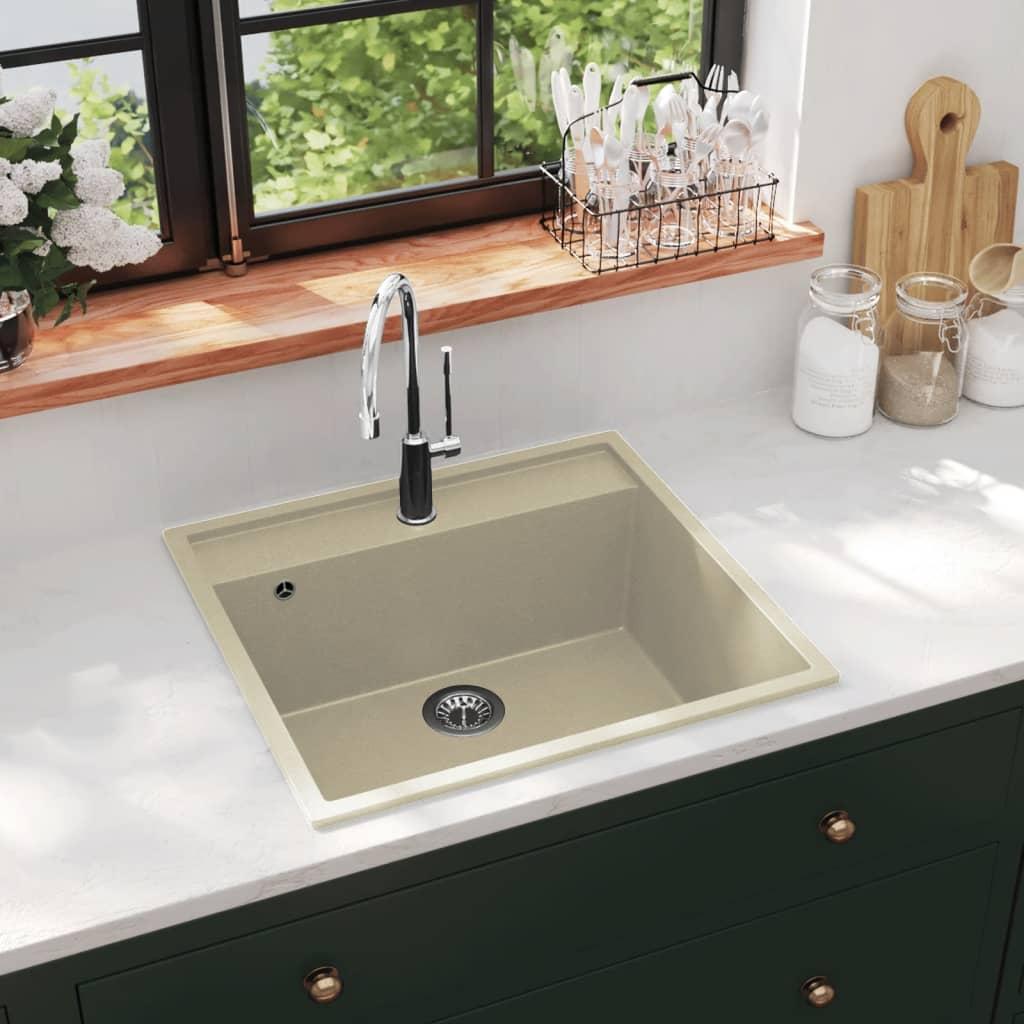 vidaXL Chiuvetă de bucătărie cu orificiu de preaplin, bej, granit poza 2021 vidaXL