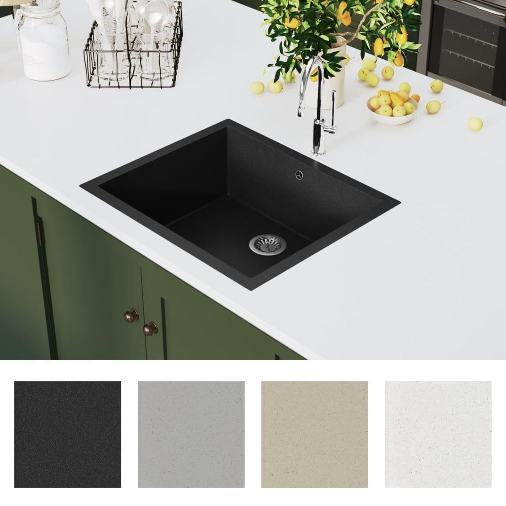 vidaXL Gootsteen met overloopgat graniet zwart