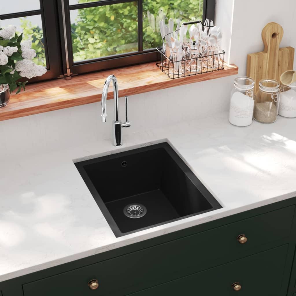 vidaXL Chiuvetă de bucătărie cu orificiu de preaplin, negru, granit imagine vidaxl.ro