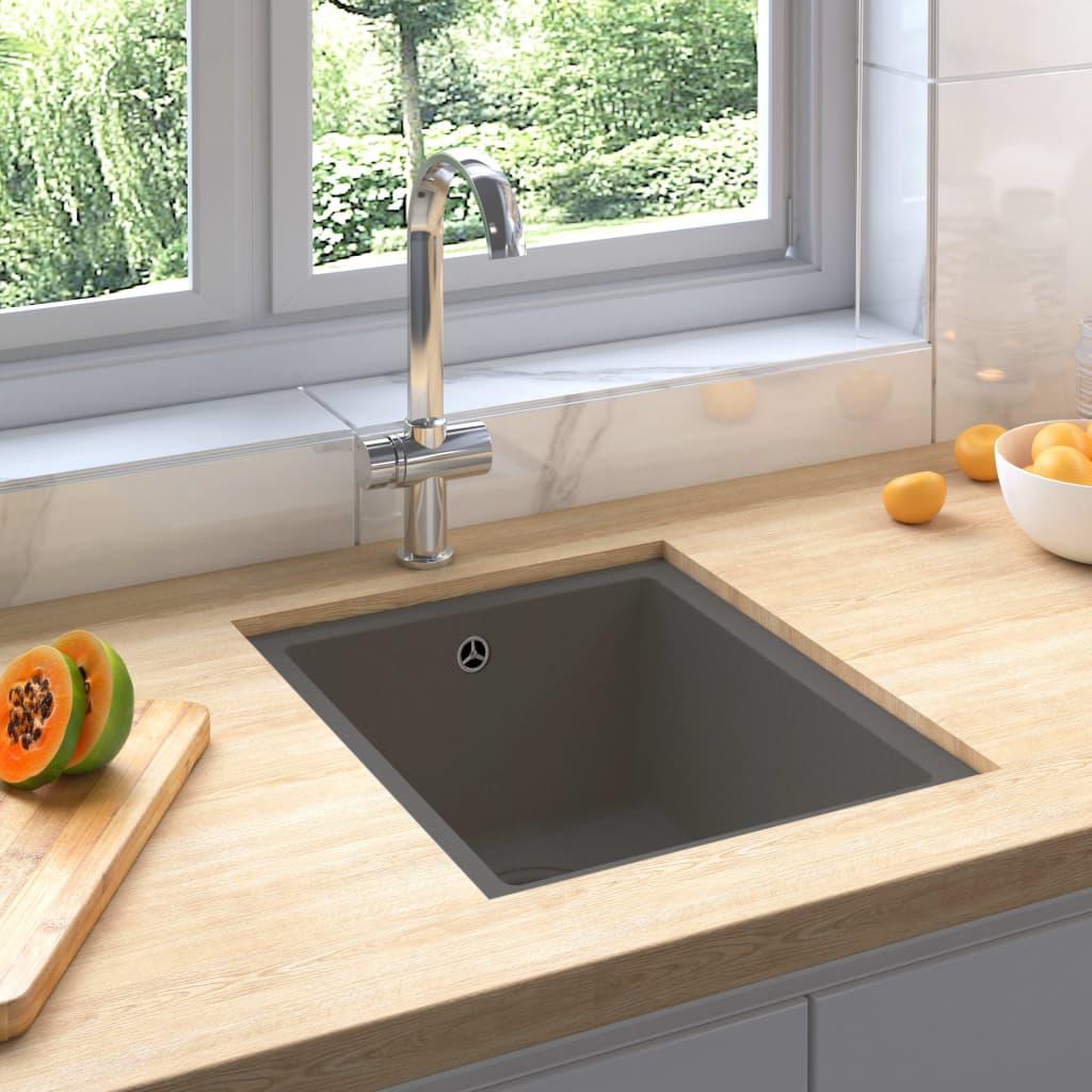vidaXL Chiuvetă de bucătărie cu orificiu de preaplin, gri, granit imagine vidaxl.ro