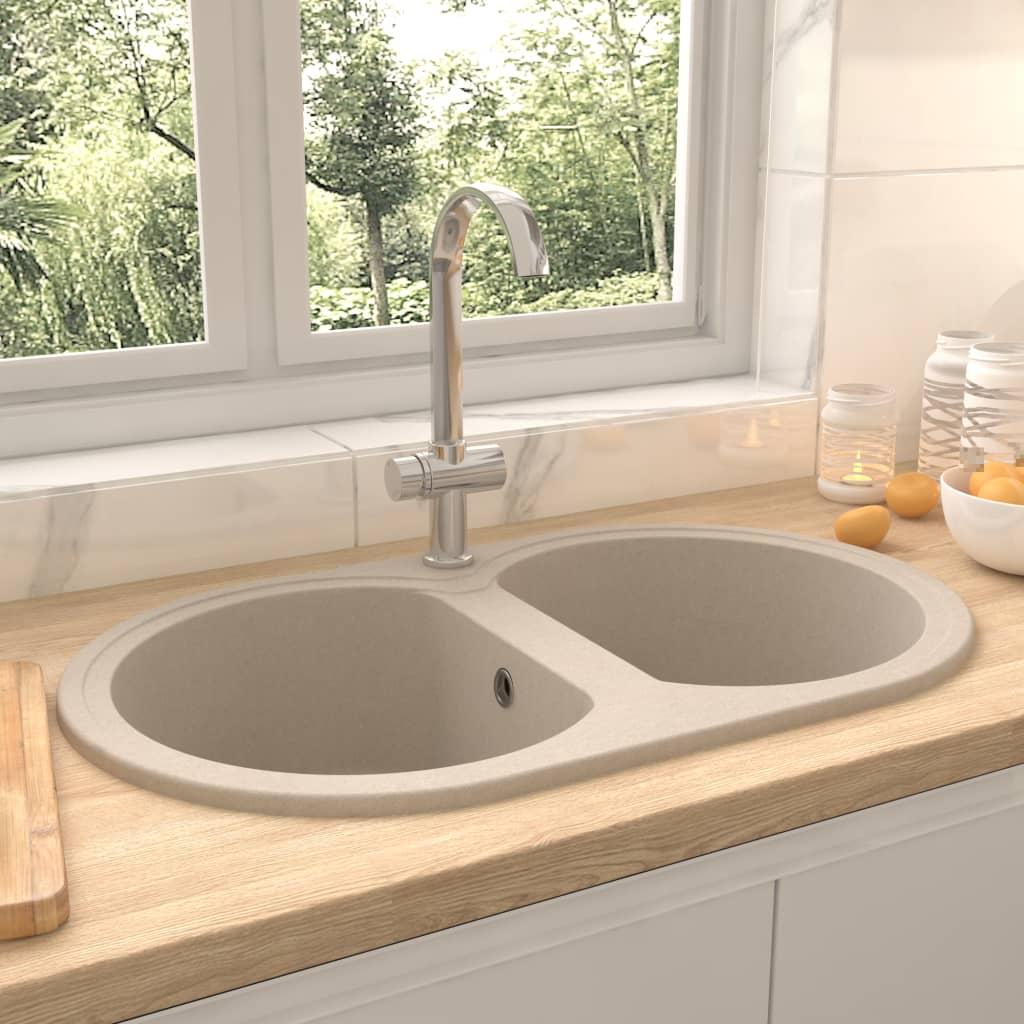 vidaXL Chiuvetă de bucătărie cu două cuve, bej, granit, oval imagine vidaxl.ro