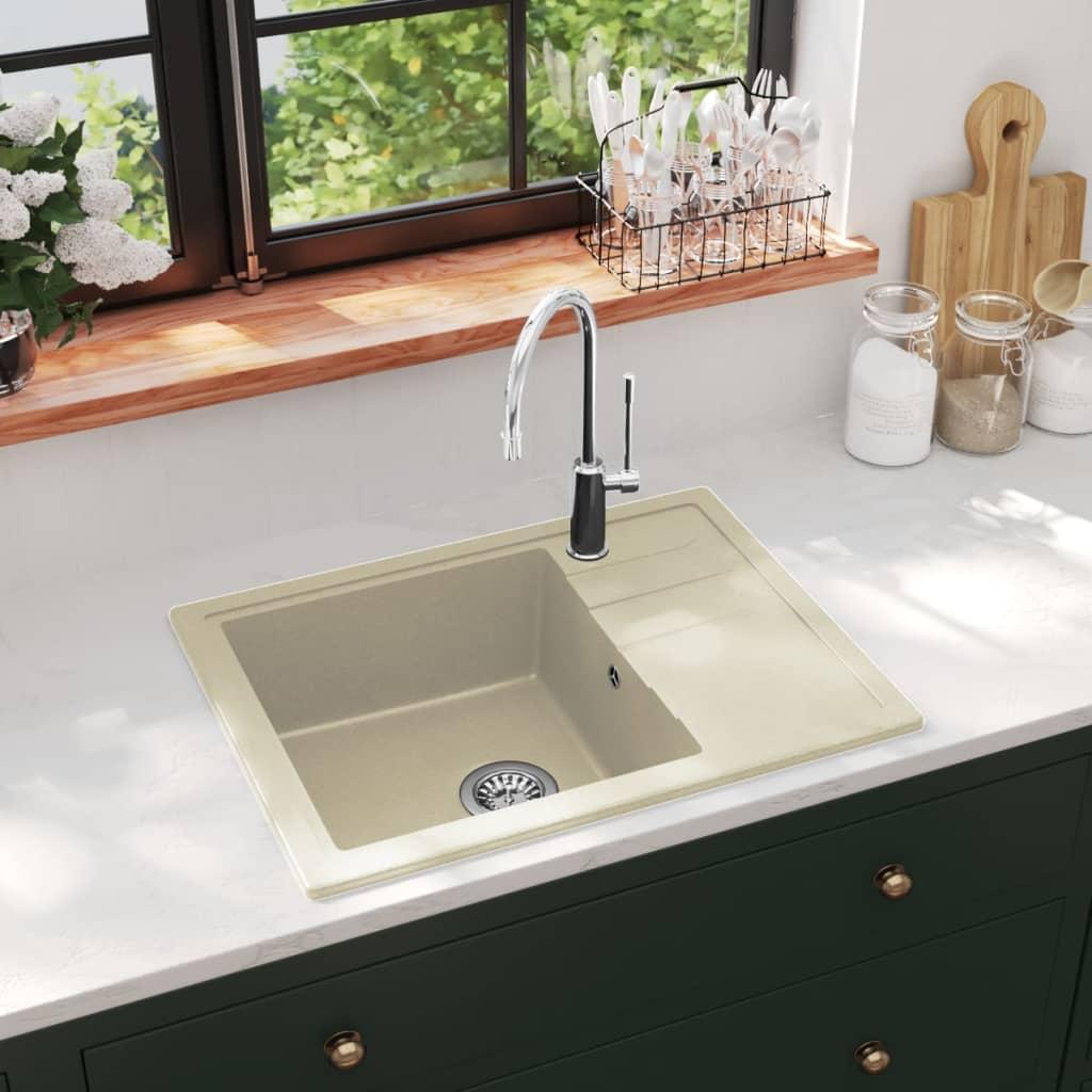 vidaXL Chiuvetă de bucătărie cu orificiu de preaplin, bej, oval, granit imagine vidaxl.ro
