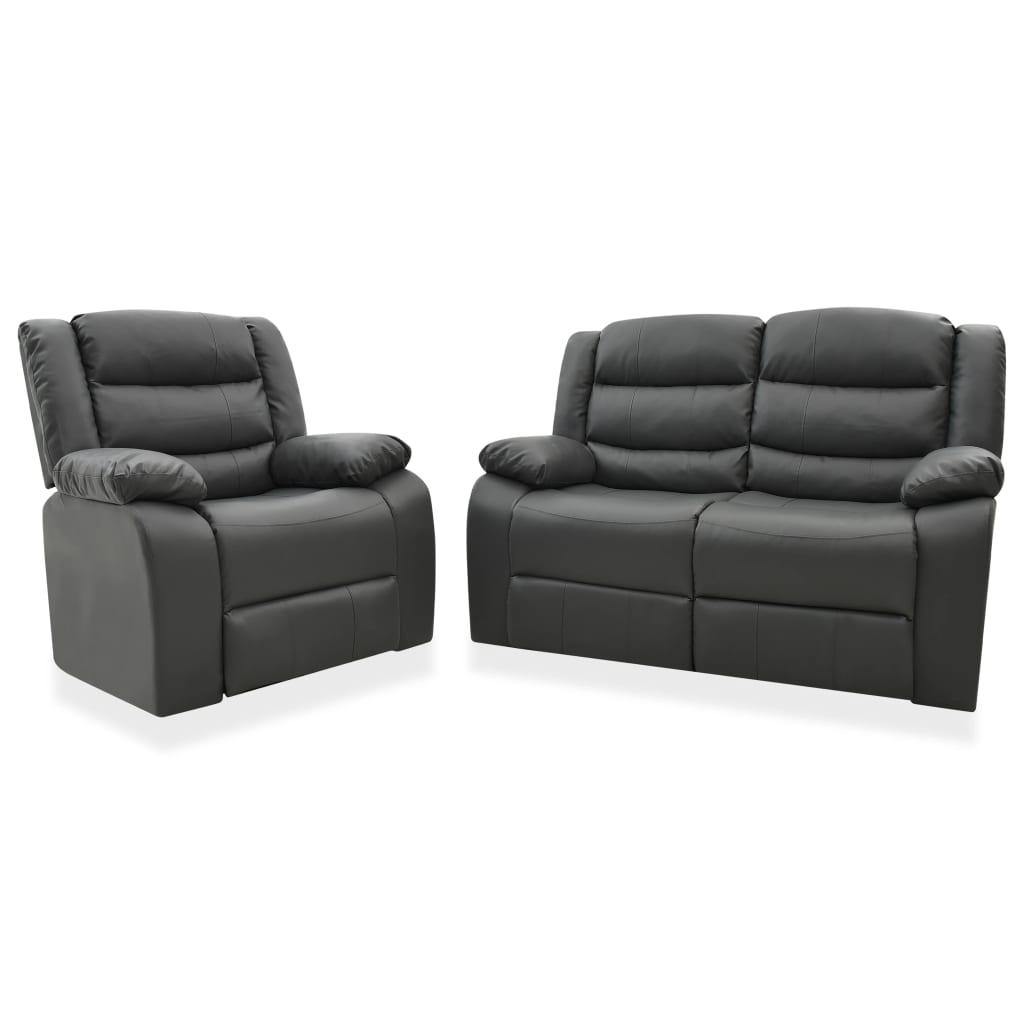 vidaXL Set canapea rabatabilă, 2 piese, gri, piele ecologică imagine vidaxl.ro