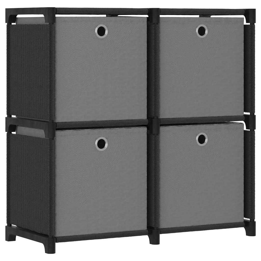 vidaXL Raft expunere cu 4 cutii, negru, 69 x 30 x 72,5 cm, textil poza vidaxl.ro