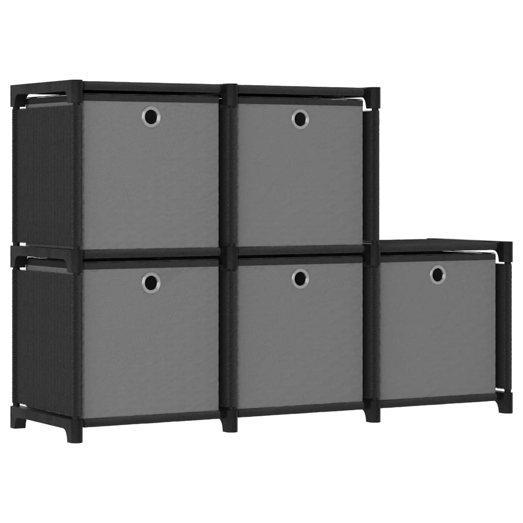 vidaXL Raft 5 cuburi cu cutii, negru, 103x30x72,5 cm, material textil imagine vidaxl.ro