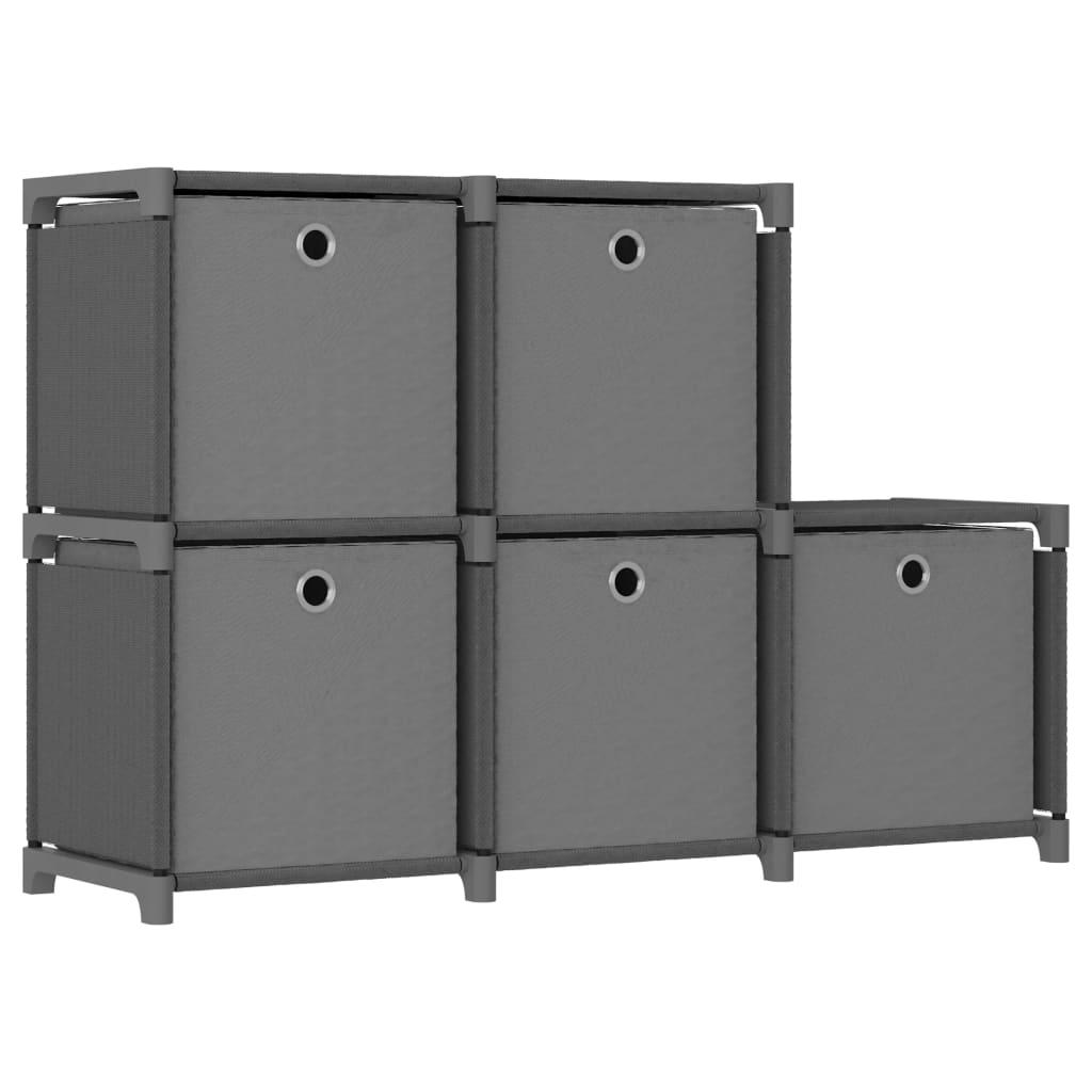 vidaXL Raft 5 cuburi cu cutii, gri, 103 x 30 x 72,5 cm, material textil vidaxl.ro