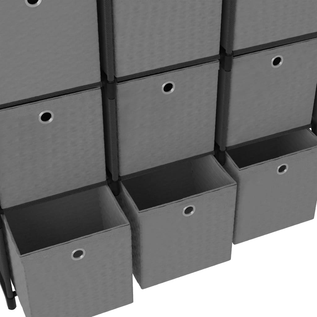 vidaXL Kast met 9 vakken met boxen 103x30x107,5 cm stof zwart