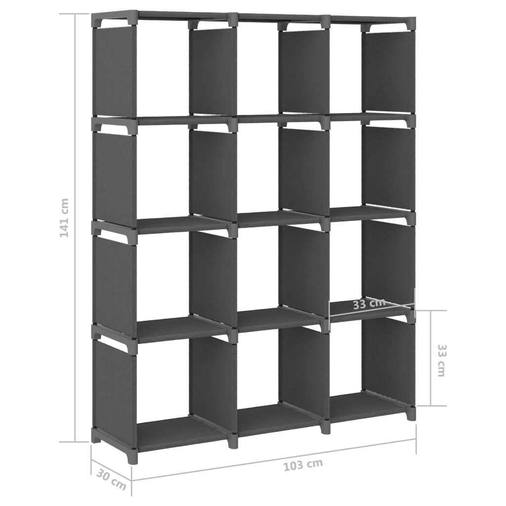 vidaXL Kast met 12 vakken 103x30x141 cm stof grijs