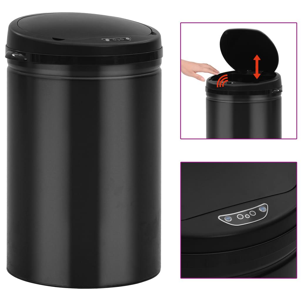 vidaXL Coș de gunoi automat cu senzor, 30 L, negru, oțel carbon poza vidaxl.ro