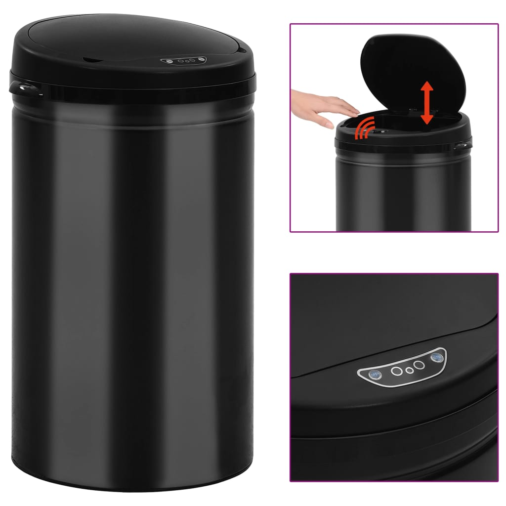 vidaXL Coș de gunoi automat cu senzor, 40 L, negru, oțel carbon poza vidaxl.ro