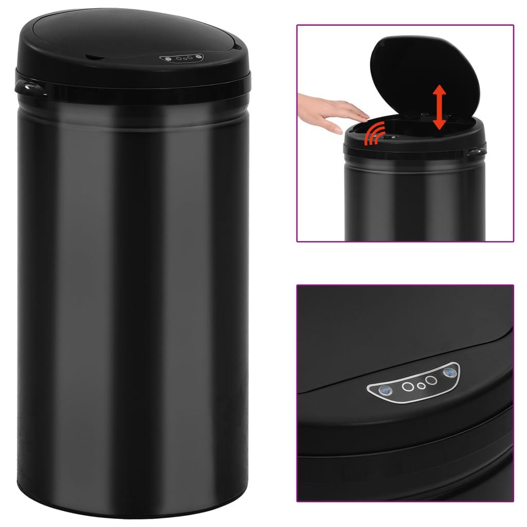 vidaXL Coș de gunoi automat cu senzor, 50 L, negru, oțel carbon poza vidaxl.ro